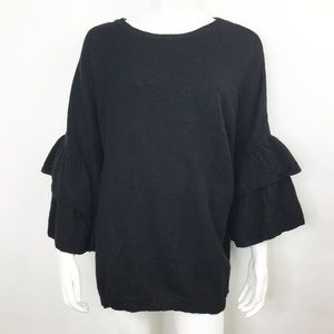 NEW ELOQUII BLACK TIERED RUFFLE SLEEVE SWEATER